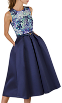Closet Gold Floral Lined Satin Dress, Navy/Multi