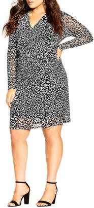 City Chic Print V-Neck Long Sleeve Dress