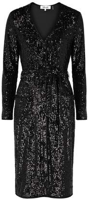 Diane von Furstenberg Melina Black Sequin Dress