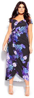 City Chic Hydrangea Wrap Dress - black