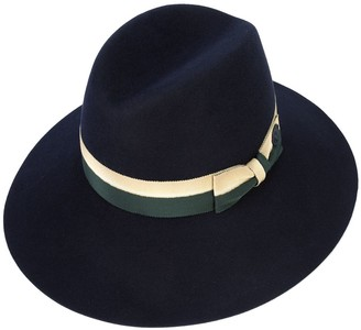 Maison Michel Two-Tone Bow Fedora Hat