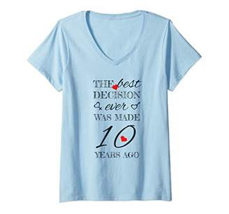 Womens 10th Wedding Anniversary Shirt - For Married Couples V-Neck T-Shirt