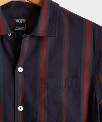 Todd Snyder Camp Collar Red/Green Stripe Long Sleeve Shirt