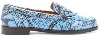 Ganni Python-embossed Patent-leather Penny Loafers - Womens - Blue Multi