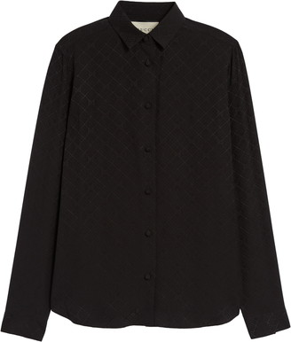 Gucci GG Check Silk Crepe Jacquard Shirt
