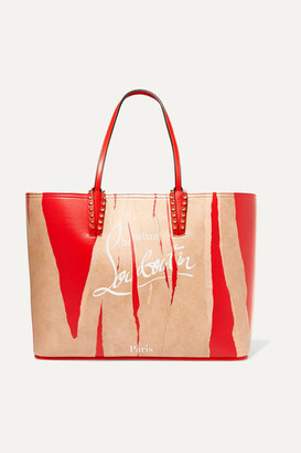 Christian Louboutin Cabata Kraft Studded Printed Leather Tote - Red