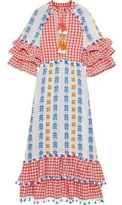 Dodo Bar Or Lola Tasseled Gingham And Broderie Anglaise Cotton-gauze Midi Dress