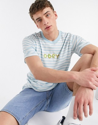 Obey Buggs embroidered striped t-shirt in sky blue