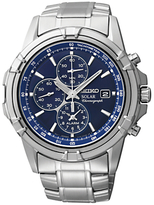 Seiko Ssc141p1 Solar Chronograph Stainless Steel Bracelet Strap Watch, Silver/blue