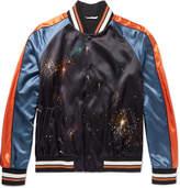 Valentino Firework-Print Satin Bomber Jacket