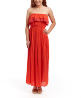 Coral Crochet-Ruffle Strapless Maxi Dress