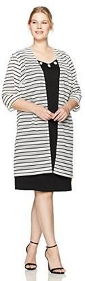 Maya Brooke Women's Size Dress with Printed Duster Jacket Plus