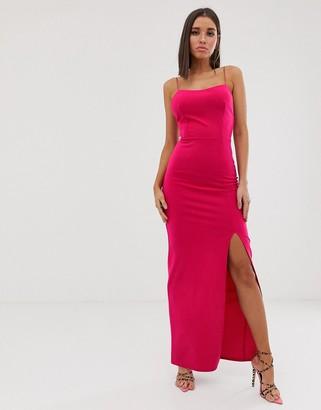 Club L London square neck midaxi dress in fuschia-Pink