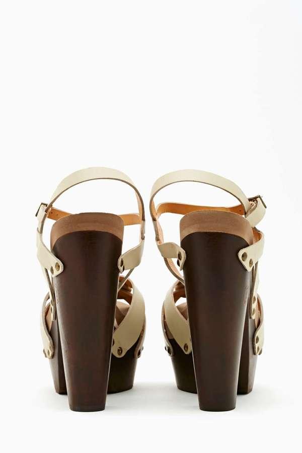 Nasty Gal Rainbow Platform Sandal - Bone Leather