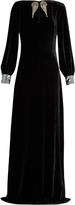 Roberto Cavalli Wing-appliqué sequin-embellished velvet gown