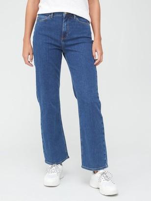 Very ShortHigh Waist Straight Leg Jean - Mid Wash