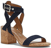 Arturo Chiang Hammil Denim Ankle Strap Block Heel Dress Sandals