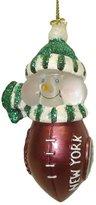 Scottish Christmas NFL New York Jets LED Lighted Football Snowmen Christmas Ornament