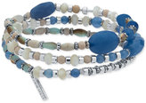 Nine West Silver-Tone Blue Beaded Stretch Bracelet