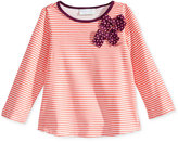 First Impressions Baby Girls' Long-Sleeve Stripes & Bows Top, Only at Macy's