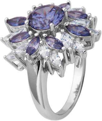 FINE JEWELRY DiamonArt Sterling Silver SimulatedTanzanite & White Cubic Zirconia Flower Cluster Ring