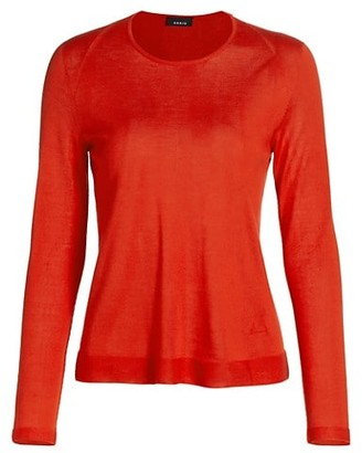 Akris Seamless Cashmere & Silk Long-Sleeve Pullover Top