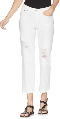 Vince Camuto White Ripped Cropped Jeans