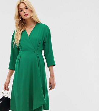 Y.A.S Tall long sleeve wrap mini dress-Green