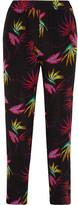 Etro Floral-print Silk Crepe De Chine Pants - Black