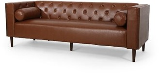 "17 Stories 90"" Wide Faux Leather Tuxedo Arm Sofa Fabric: Cognac Brown Faux Leather"