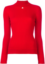 Courreges ribbed knitted blouse - women - Cotton/Cashmere - 1
