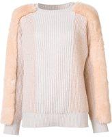 Stella McCartney faux-fur knitted panel jumper