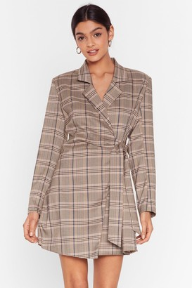 Nasty Gal Womens Check Out the View Tie Blazer Dress - Brown - 6