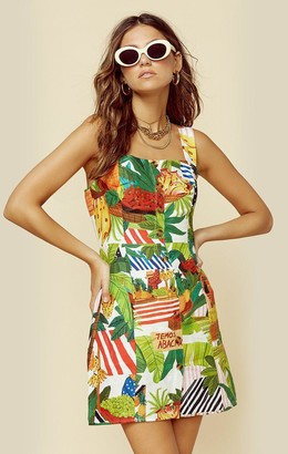 Farm Rio TROPICAL FAIR LINEN MINI DRESS | New
