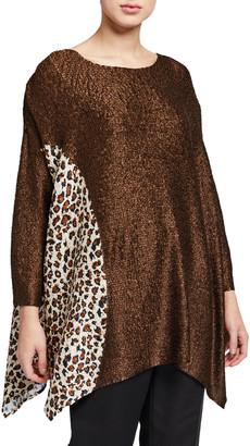 Berek Petite Half Moon Leopard Crinkle Tunic