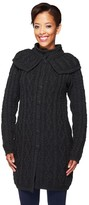 Aran Craft Merino Wool Button Front Long Cardigan with Capelet