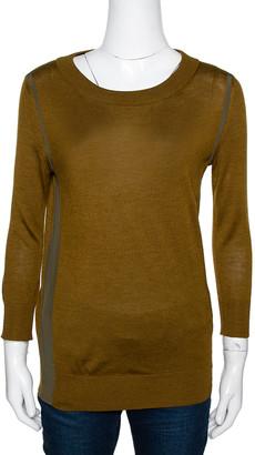 Fendi Olive Green Cashmere & Silk Trim Long Sleeve Jumper S