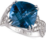 LeVian Le Vian Blue Topaz (8 ct. t.w.) and Diamond (1/2 ct. t.w.) Ring in 14k White Gold