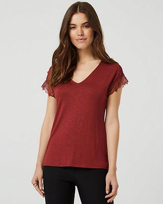 Le Château Lace & Knit V-Neck T-Shirt