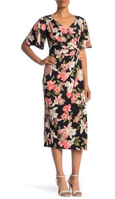 Maggy London Floral Flutter Sleeve Faux Wrap Midi Dress
