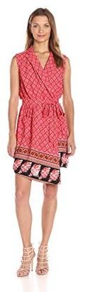 MinkPink Women's Spice Market Sleeveless Faux Wrap Print Shirt Dress