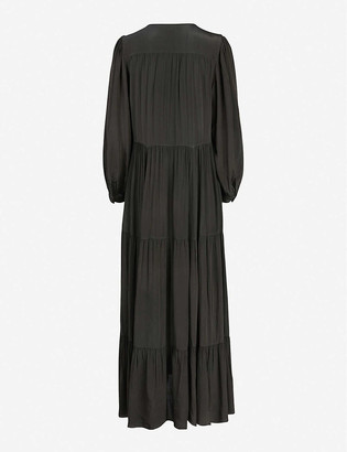 AllSaints Lea relaxed-fit crepe maxi dress