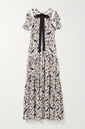 Gloria Pussy-bow Crochet-trimmed Printed Crepe Maxi Dress