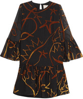 Roksanda Kawara ruffled devoré-chiffon mini dress