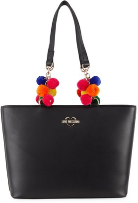 Love Moschino Pom-Pom Faux Leather Tote