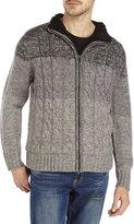 Weatherproof Grey Ombré Color Block Zip Front Sweater