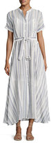 Theory Avinka Belted Striped Maxi Shirtdress
