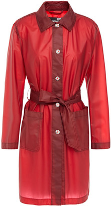 Love Moschino Belted Two-tone Vinyl Raincoat