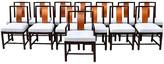 One Kings Lane Vintage John Stuart Dining Chairs - Set of 14 - Cannery Row Home - chestnut, ebony, gold, blue grey