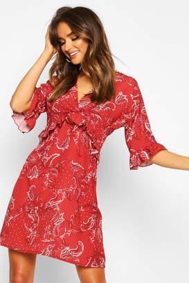 boohoo Woven Paisley Ruffle Smock Dress